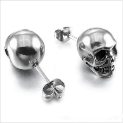 ES1026 High Quality Gothic Stainless Steel Red Clear Black Crystal Eye Skull Stud Earrings