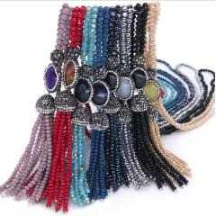 NG1008 Chic Small Crystal Beaded Rhinestone Pave Agate Focal Beads Tassel Necklace for Women
