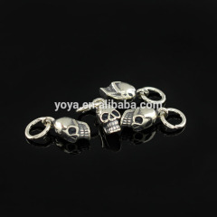 Hot sale S1502 Wholesale 925 sliver fittings skull Charms ,sliver jewelry ,for gift