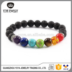 BRP1468 Natural stone stretch Chakra bracelet, spiritual healing rainbow meditation bracelet