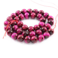 TE3006 Wholesale dyed fuchsia tiger eye beads,smooth tiger eye stone, loose gemstone jewelry