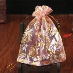 BP1007 Cheap Jewelry Pouch Gold Rose Flower Printed Organza Gift Bags,Wedding Favor Small Organza Bags