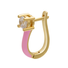 EC1639 New Chic Rainbow Enamel 18k Gold Plated Zircon CZ Micro Huggie Earring