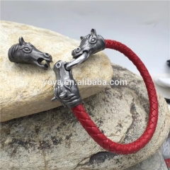 BS3001Stainless steel leather bracelet,mens bracelet ,custom made stainless steel bracelet