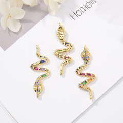 CZ8154 Rainbow Colorful Brass Micro Pave Animal Bracelet Accessories Crocodile Snake Lion Elephant Charms