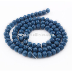 CR0516 Navy blue crystal glass faceted rondelle beads