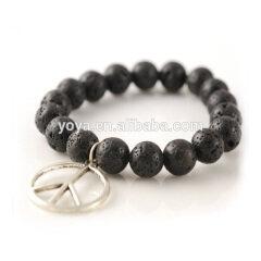 BRN1129 Fashion Lava beaded Peace Sign Bracelet,BLack Lava Rock Beads Bracelet with Peace Symbol Charm