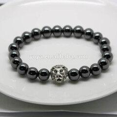 BRA1127 Trendy Hematite Beaded Bracelet With Silver Lion Head,Black Men's Bracelet