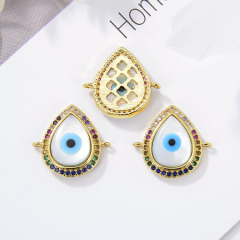 CZ8144 CZ Micro Pave Evil Eyes Charm Connectors , Hand Heart Shape Space Connector For Jewelry Findings