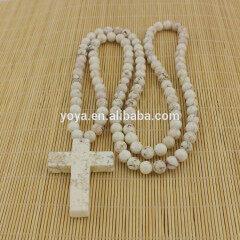 NE2064 Fashion white turquoise beaded chunky cross necklace,white turquoise necklace with cross pendant