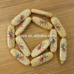 OB018 Wholesale Hand Carved Fish Pattern Bone Long flat Column Spacer Beads