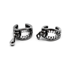 ES1024 High Quality Stainless Steel Zipper Ear Cuff Ear Clip Non-Piercing Clip-On Earrings for Men and Women