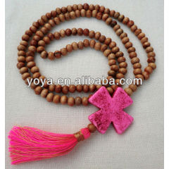 NE2099 Wooden beads cross tassel necklace,rosary tassel necklace