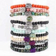 BN5180 gemstone beads stretch bracelet with buddha head