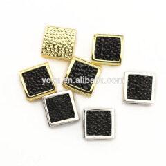 CZ6933 Black Stingray skin flat square beads,Genuine Sting Ray Stingray Hide leather pave square spacer beads