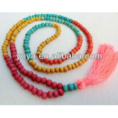 NE2097 Multicolor wooden beads tassel necklace,hot pink beads and turquoise tassel necklace