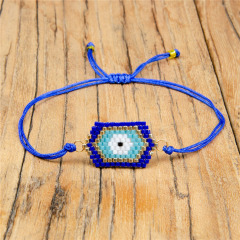 BG1008 Dainty Handmade Miyuki Seed Beaded Evil Evileye Eye Woven Charm Loom Friendship Bracelet for Women Girls