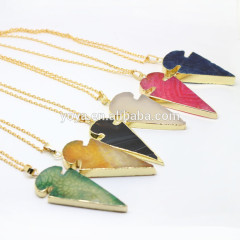 NE2319 Trendy gold dipped agate arrowhead pendant necklace