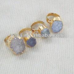 RG1056 Natural Agate Druzy Ring