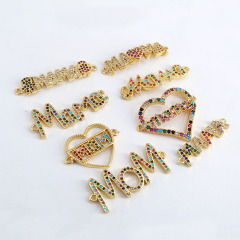 CZ8152 Fashion Mother's Gift Letter Mom Mama Bracelets Connector Metal Copper Zircon Letter Charm
