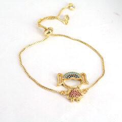 BC1262  Fashion Gold plated Brass CZ Micro Pave  wrist children adjustable bracelet boys and girls charm kids chain bracelet