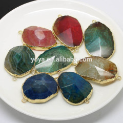 JF8262 Gold plated edge Agate Pyramid Faceted Stone Connector,Stone Jewelry Connector
