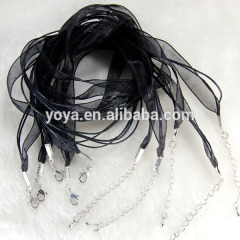 BC0307 Wholesale Silk Organza Voile Ribbon Cord Necklace with Lobster Clasp
