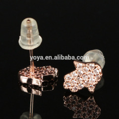 EC1067 Hot sale CZ micro pave hamsa earring,Cubic zirconia diamond stud earring