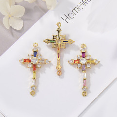CZ8146  CZ Zircon Micro Pave Cross Charm Pendant  Diamond Necklace For Jewelry