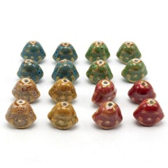 CC1835  Handmade Pottery, Buddha Porcelain Beads for Jewellery Making, Vintage Buddha Chinoiserie Ceramic Beads