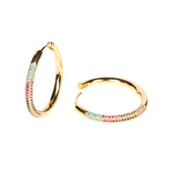 EC1670 Rainbiw18K Gold plated CZ Circle Hoop earrings,Simple gold jewelry Diamond CZ Hoop earring for women