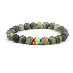 8mm beaded stretch bracelet green line jasper jewelry