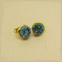 EA3164 2014 hot sale green druzy stone stud earring