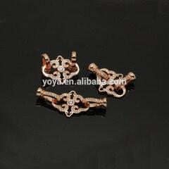 CZ6497 Wholesale cz micro pave bracelet charm clasps jewelry findings,zirconia assortment antique brass beads