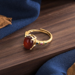 RN1038 natural stone jade band ring sand gold plated green jade ring for women