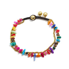 AS1007 Vintage Handmade Stone Chip Beaded Macrame Anklets for Women, Gypsy Style Boho Bohemian Anklet for Girls