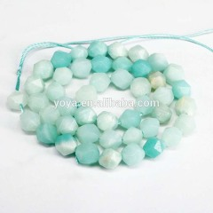 AM0919 Faceted Star Cut Blue Amazonite Nugget Beads