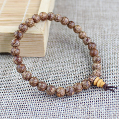 BW1054 Buddhism Meditation Natural Golden Line Bodhi Beads Wrist Mala Bracelet