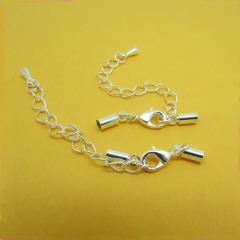 JF0742 Extender Chain+Lobster Clasp+Cord Ends,cord caps for leather cords
