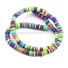 GP0862 Wholesale clay rubber heishi beads,mixed colour polymer clay disc spacer beads