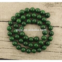 MJ1013 wholesale green smooth natural gemstone Mashan jade stone round loose beads