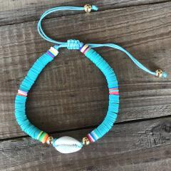BP1006 Trial Jewelry Bohemian African Vinyl Discs Polymer Clay Disc Heishi Beads Cowrie Macrame Bracelets