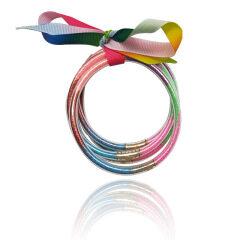 BI1001Designer Glitter Women Bracelets Bangles Set Glitter Filled Silicone Plastic Bowknot Jelly Christmas Bracelet