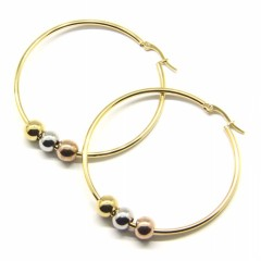 ES1021 High Quality Unisex Gold Plated 316L Surgical Stainless Steel Hoop Ewith 3 Colours Beads arrings for Women Men