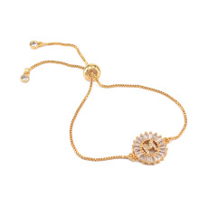 Fashion 2019 design Wholesale 18k gold plated Micro Pave Cz initial letter adjustable chain charm bracelet