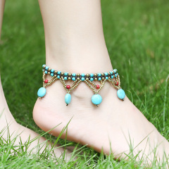 AS1001 Vintage Handmade Turquoise and Antique Bronze Beaded Macrame Anklets for Women, Boho Bohemian Anklet for Girls