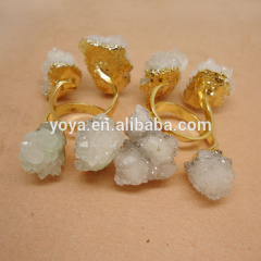 RG1074 High Quality Sparkly White Natural Crystal Quartz Druzy Ring