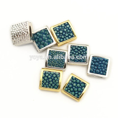 CZ6932 Turquoise Blue Stingray skin flat square beads,Genuine Sting Ray Stingray Hide leather pave square spacer beads