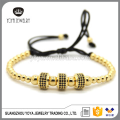 BRZ1385 CZ micro pave ball beads macrame bracelet for gift