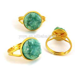 RG1061 Wholesale Titanium Druzy Ring,Druzy Quartz Stacking Ring,Druzy Adjustable Ring